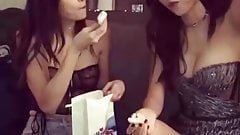 Victoria Justice and her hot friend having a snakc
