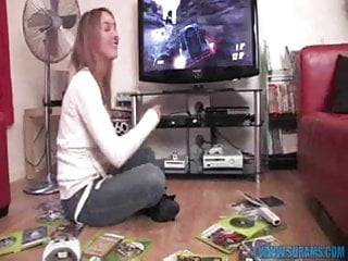 Naked video game girls British slut masturbates with video game controllers