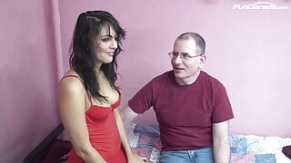 Sexy Latina fucks with a white guy for Job Interview