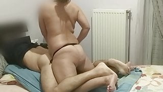 Fuck with strapon and cum together at the same time