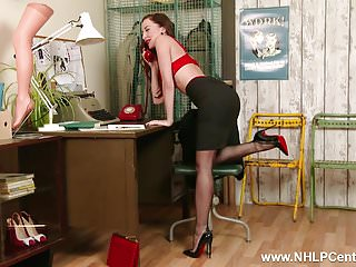 Vintage nylon lingerie - Brunette secretary on phone in retro lingerie nylon heels