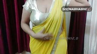 My sexy chubby shonabhabhi saree wearing in satin blouse