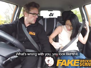 Asian funny video Fake driving school wild ride for petite british asian