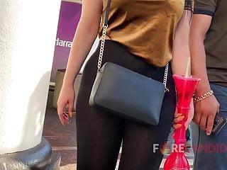 Shiney wear spandex sex - Latina wears incredibly see thru leggings in public