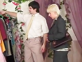 Russian guy seduced matures Russian milf in stockings seduces in dressingroom