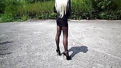 Mini Skirt, High Heels, Nylon Tights, Leather Biker Jacket,