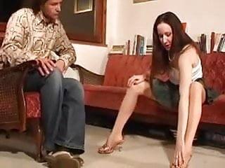 Gay men foot worship Sheer tan pantyhose foot worship and footjob