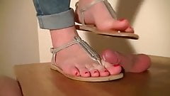 Aballs and cock trample- Flattened cock under sandals
