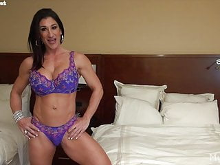 Female oversized clit Muscular female bodybuilder shows her big tits and big clit