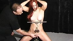 Amateur bdsm and tit torture of cute sub Chaos in pussy pain