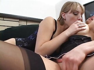 Free eating out sex Nylon wearing blond dykes eat each other out on the couch