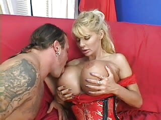 Gay blows the team - Huge tit milf takes one for the team