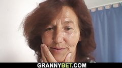 Hairy sewing granny and boy hot fuck on the floor