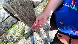 Extremely risky public handjob at lake - People are really close