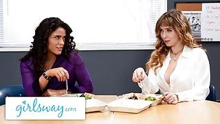 GIRLSWAY – Stacked Lena Paul Bangs Her Colleague In Break Room