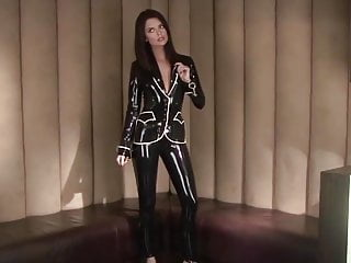 Latex cat suit video Lara black latex suit