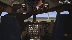 Die Stewardess will den Steuerknueppel
