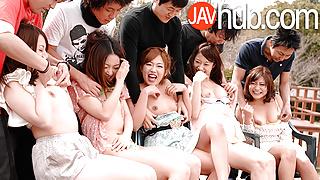 JAVHUB Hardcore Japanese orgy with five sexy ladies