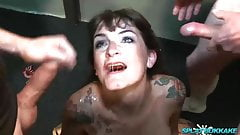 Bukkake party facials for Adreena Winters