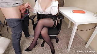 Secretary With Big Tits Gives Handjob on her Stockings and High Heels