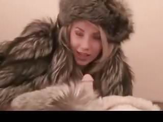 Girl fur sex Hot blonde in fur teasing hj with a dildo