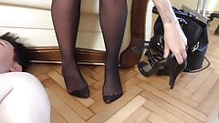 under the nylon feet of the femdom teen twins