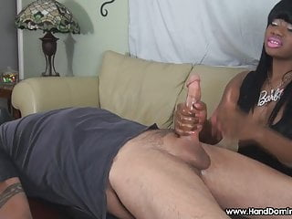 Cum disrespected humilated insulted cries Disrespectful ebony gives femdom handjob too big white cock
