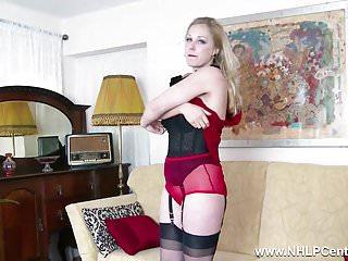 Dandylion vintage lingerie Blonde tease in vintage lingerie heels nylons panties wank