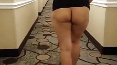 Asian MILF Naked in Hotel Hallway