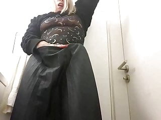 Disturbing sex tape Naughty secretary masturbates in the toilet - boss disturbs