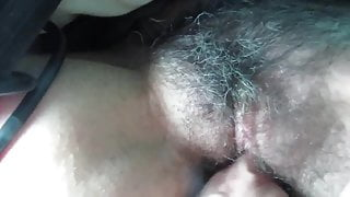 Fingering the Hairy Pussy of my wife