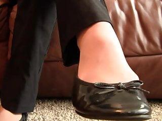 Brazil fetish films video preview Caroline pantyhose black flats shoeplay preview