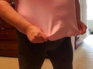 Braless mature women Granny braless takes off her bra