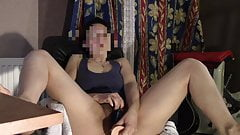 wife masturbates watching porn and cums, wife Orgasm