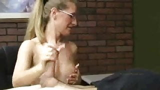 Amazing Sara James witch sexy manicure nails gives a HANDJOB