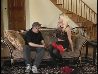 Much pussy for one man Blond lets an older man taste her pussy before a younger one fucks her ass