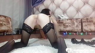 Horny princess in black stockings dildos her cunt