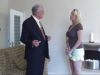 Money strip game - Old man strips and spanks young girl for missing money