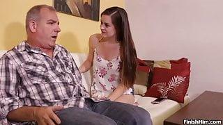 Teen Wants To Try Her Handjob Skills On Mature Man