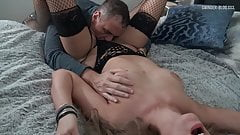 Sexy mom in black fishnets gets her pussy licked and fucked