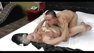 Silver hair cougar with young friend