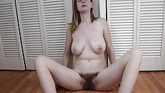 Hairy girl lactating and spitting milk on her great tits