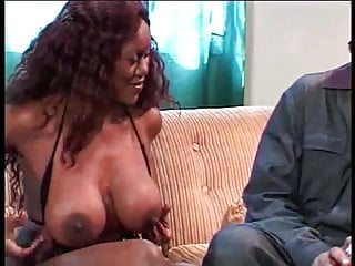 Freeones tits sucked - Brunette ebony with big tits gets her tits sucked hard by guy on the sofa