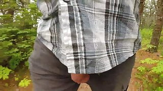 Walking on trail with Cock out