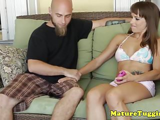 Mature girls with tanlines - Tanlined milf jerking after showing bigtits