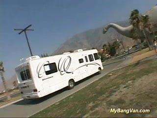 Van blowjob Nasty busty babe banged in in my big van with big cocks