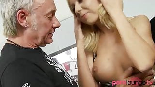Dped busty blonde babe gets cum in mouth