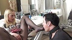 Teen princess Valerie trains her foot slave bobby
