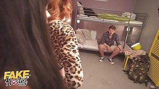 Fake Hostel Backpacker Fucks Redhead Landlady and Her Petite Maid