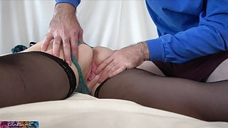 Stepmom with a big ass gets massaged and fucked by stepson